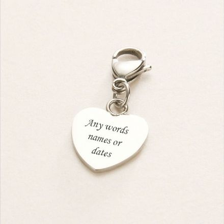 Engraved Steel Heart Charm